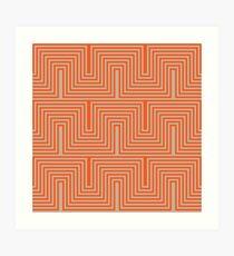Doors & corners optical art pattern in orange and beige Art Print