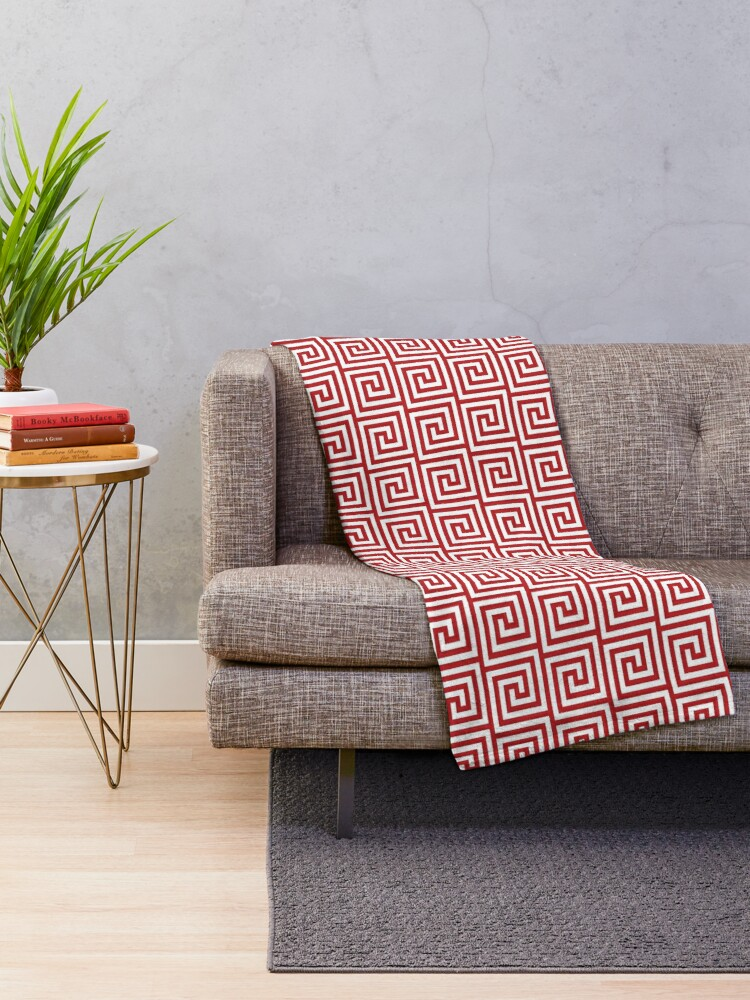 Alternate view of Geometric Pattern: Key Spiral: Red Throw Blanket