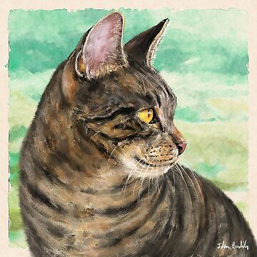 Painting of a Gray Cat with Stripes Looking to the Right, Green Yellow Background by ibadishi
