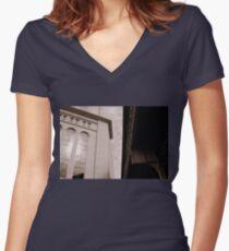 Yankee Stadium & Subway Tracks Women's Fitted V-Neck T-Shirt