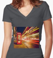 London red telephone box Women's Fitted V-Neck T-Shirt