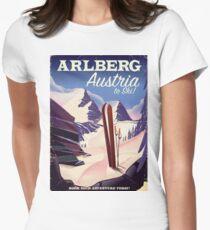 Arlberg Austria ski travel poster Women's Fitted T-Shirt