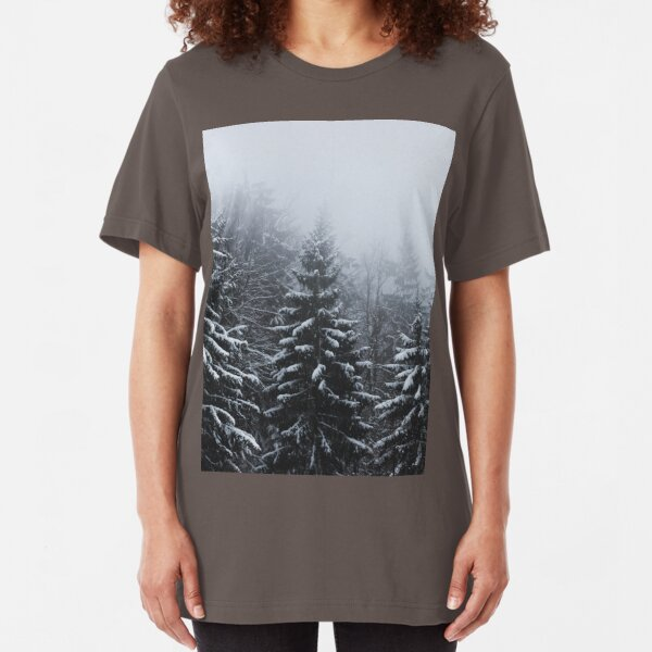 Fog over snow covered spruce forest in winter  Slim Fit T-Shirt