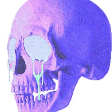 purple skull crying by flowing