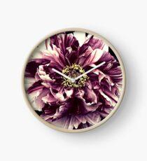 Purple White Peony Flower A103 Clock