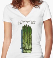 watercolor hand drawn vintage illustration of asparagus Women's Fitted V-Neck T-Shirt