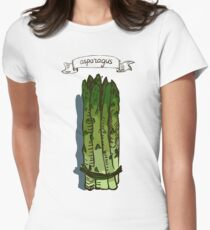 watercolor hand drawn vintage illustration of asparagus Women's Fitted T-Shirt