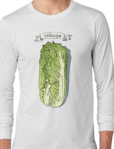 watercolor hand drawn vintage illustration of cabbage Long Sleeve T-Shirt