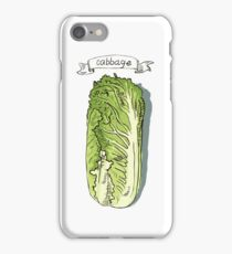 watercolor hand drawn vintage illustration of cabbage iPhone Case/Skin