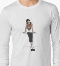 Girl with color scarf Long Sleeve T-Shirt