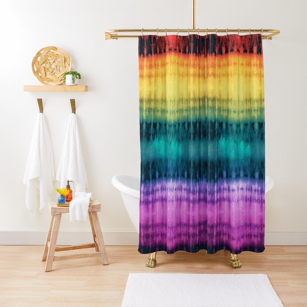 Jeweled Rainbow Shibori Shower Curtain