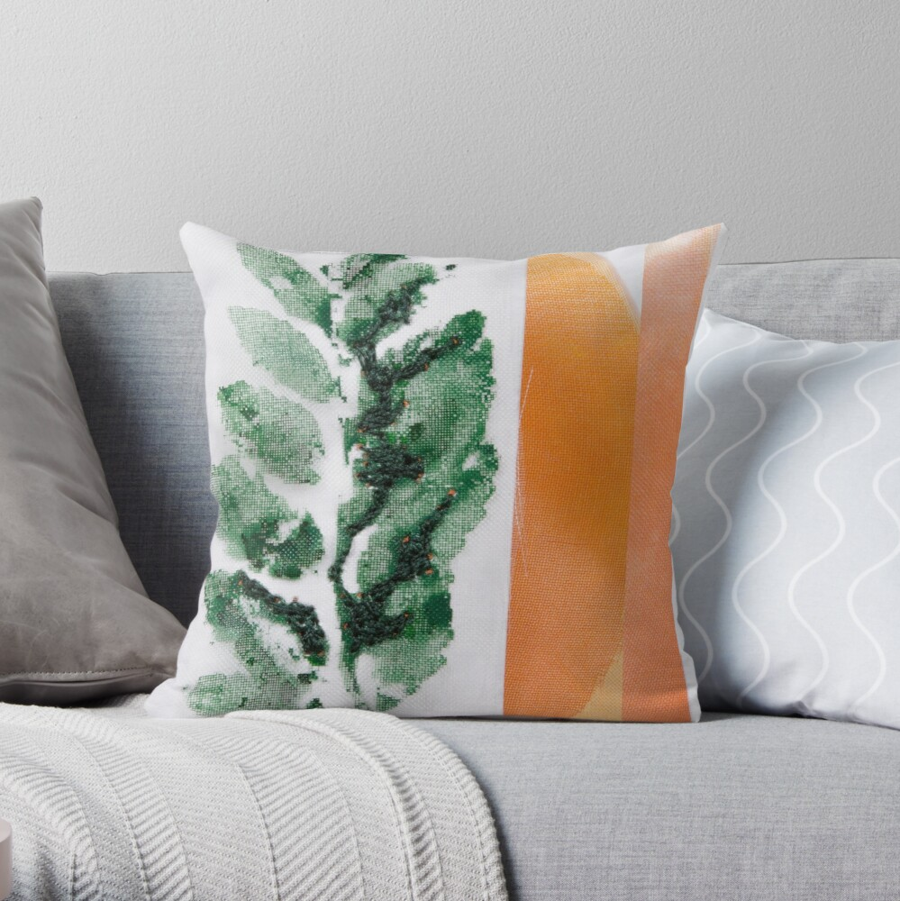 Printed leaves Throw Pillow