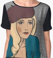 Blond girl in beret Chiffon Top