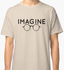 Imagine, round glasses, spectacles, peace, hippie, pacifism, choose peace Classic T-Shirt