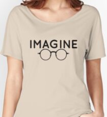 Imagine, round glasses, spectacles, peace, hippie, pacifism, choose peace Women's Relaxed Fit T-Shirt
