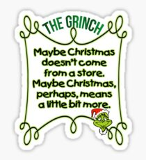 The Grinch 2018 Costume Christmas Grinch T Shirt  Sticker