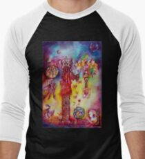 GARDEN OF THE LOST SHADOWS ,FAIRIES AND BUTTERFLIES Men's Baseball ¾ T-Shirt