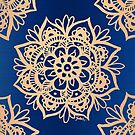 Blue and Gold Mandala by julieerindesign