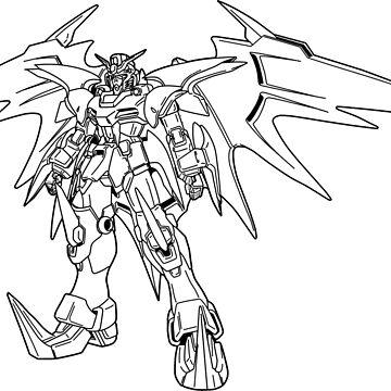 Gundam Deathscythe Hell EW Vers. Outline Black by MossLoves