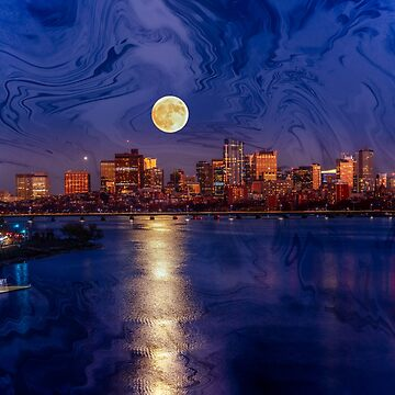Moon light night, Boston MA by LudaNayvelt