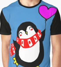 Happy Penguin with Pink Heart Shaped Ballooons Graphic T-Shirt