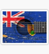Old Vintage Acoustic Guitar with Turks and Caicos Flag Sticker