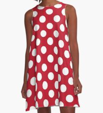 Red And White Polka Dots A-Line Dress