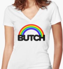 butch rainbow Women's Fitted V-Neck T-Shirt