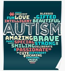 Colorful Heart Puzzle Autistic Love Autism Awareness Poster