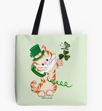 Kitty on St.Patrick's day (1887 Views) Tote Bag