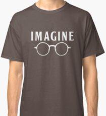 Camiseta clásica Imagínese, gafas redondas, gafas, paz, hippie, pacifismo