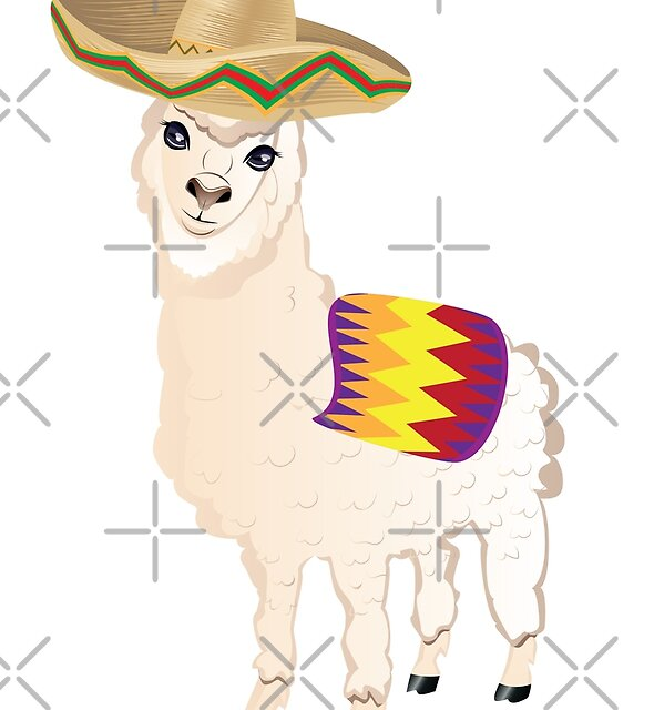 Cartoon Alpaca in Sombrero by AnnArtshock