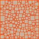 abstract cells pattern in orange and beige by VrijFormaat