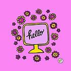 Hello monitor tv peace flowerpower design 04 by mellowdays