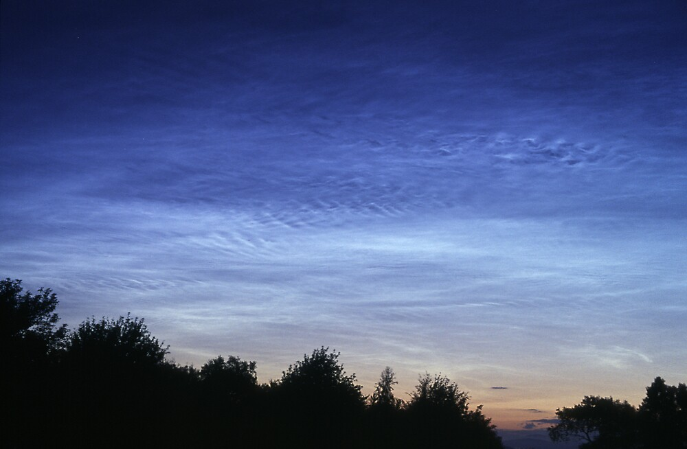 Electric Blue Noctilucent Clouds by Russell Cockman