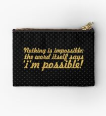 "Nothing is impossible... ""Audrey Hepburn"" Inspirational Quote Studio Pouch"