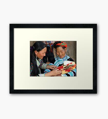 Hilltribe family, in the hills of far north Vietnam Framed Print