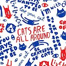 Cats Are All Around - Pattern // Red And Blue by Elli Maanpää