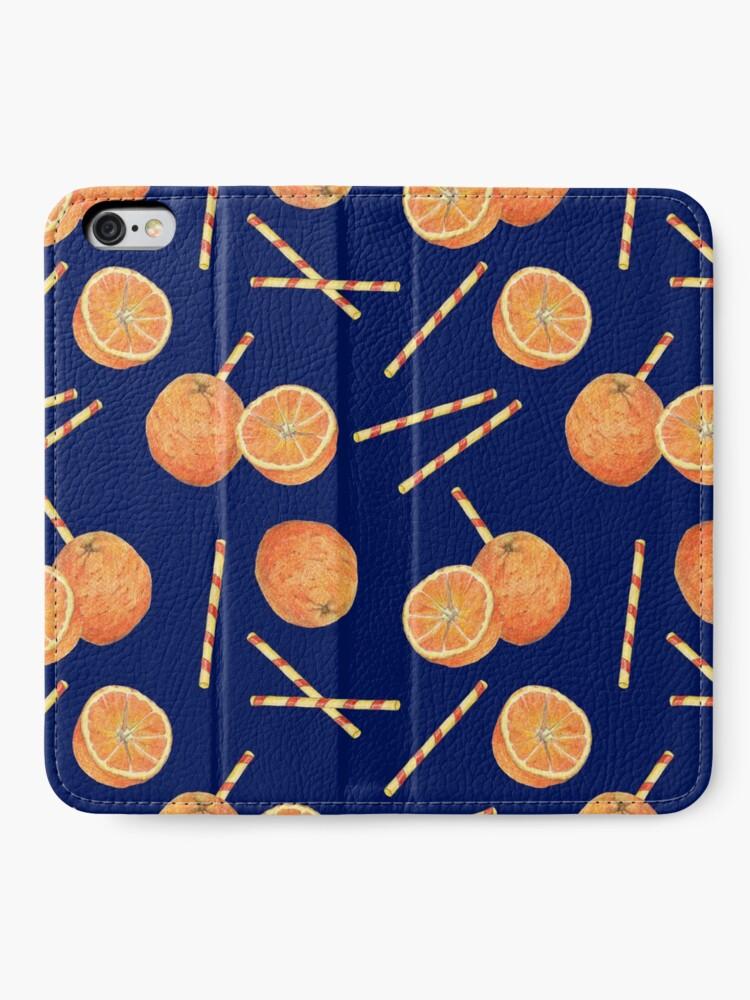 Alternate view of orange juice _blue iPhone Wallet
