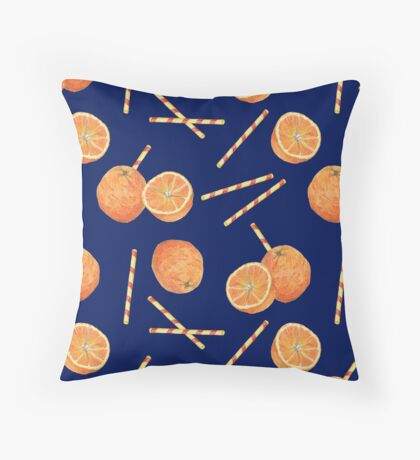 orange juice _blue Throw Pillow