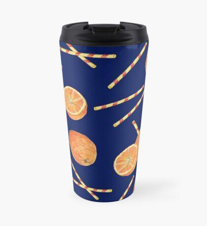 orange juice _blue Travel Mug