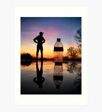 Man vs. Water Bottle Art Print