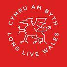 Welsh Dragon white line by Grafiker