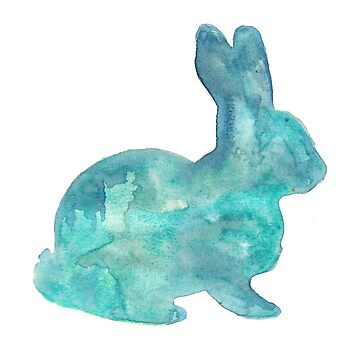 Rabbit Watercolor Silhouette  by fugitiverabbit