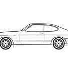 Ford Capri 2.8 inj Outline Artwork by RJWautographics
