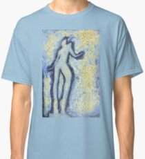 """""""Girl dancing in swirling blues and yellows"""" an analog darkoom photographic print / painting Classic T-Shirt"""