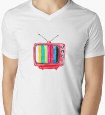 Watercolor Retro TV - Television - Illustration Men's V-Neck T-Shirt