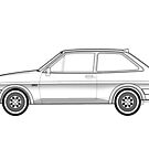 Ford Fiesta XR2 Outline Artwork by RJWautographics