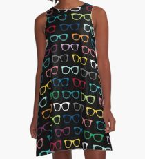 Colorful Hipster Eyeglasses Pattern A-Line Dress