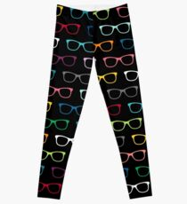 Colorful Hipster Eyeglasses Pattern Leggings